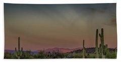 Saguaros Salute Rays Rising Beach Towel
