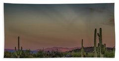 Saguaros Salute Rays Rising Beach Sheet