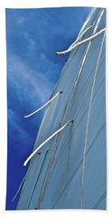 Sail And Blue Clouds Portrait Beach Sheet