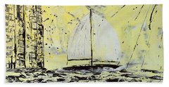 Beach Towel featuring the painting Sail And Sunrays by J R Seymour