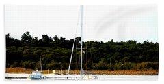 Sail Boat At Anchor  Beach Towel