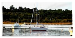 Sail Boat At Anchor  Beach Towel