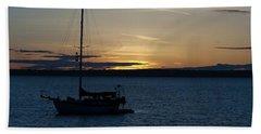 Sail Boat At Sunset Beach Towel