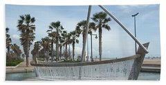 Sail Boat Fountain In Valencia Beach Towel