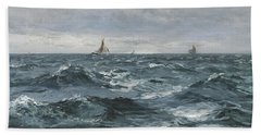 Sail On A Rough Sea Beach Towel
