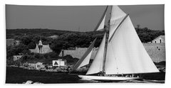 sailboat - a one mast classical vessel sailing in one of the most beautiful harbours Port Mahon Beach Towel