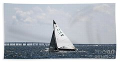 Sailboat And Bridge Beach Towel