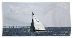 Sailboat And Bridge Beach Towel by Mary Haber
