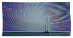Sailboat And Bubbles Beach Towel by Todd Breitling