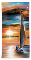Sailboat And Sunset Beach Towel