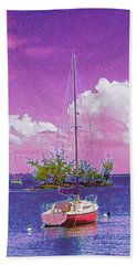 Sailboat At Reeds Bay Hilo Aloha Beach Towel