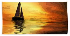 Sailboat At Sunset Beach Sheet