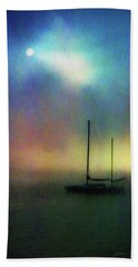 Beach Towel featuring the mixed media Sailboat At Sunset by John A Rodriguez