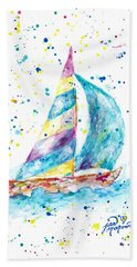 Sailboat By Jan Marvin Beach Towel