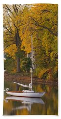 Sailboat In Alburg Vermont  Beach Towel by George Robinson