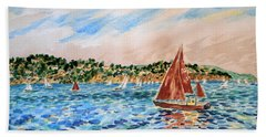 Sailboat On The Bay Beach Towel