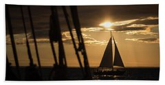 Sailboat On The Horizon Beach Towel
