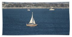 Sailboat On The Pacific In Long Beach Beach Towel