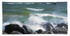 Sailboat Sailing Off The Shore At Ottawa Beach State Park Beach Towel