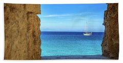 Sailboat Through The Old Stone Walls Of Rhodes, Greece Beach Towel