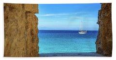 Sailboat Through The Old Stone Walls Of Rhodes, Greece Beach Sheet