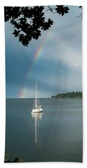 Sailboat Under The Rainbow Beach Sheet by Mary Lee Dereske