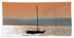 Sailboat With Bike Beach Towel
