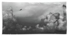 Sailboats And Thunderheads In Bw Beach Towel by Mary Haber
