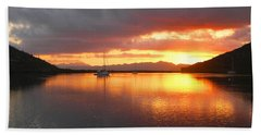 Sailboats At Sunrise In Puerto Escondido Beach Towel