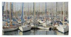 Sailboats At The Dock - Painting Beach Sheet
