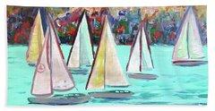 Sailboats In Spain I Beach Towel