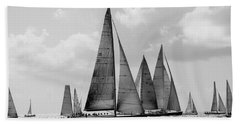 Sailboats In St. Martin, Black And White Beach Towel