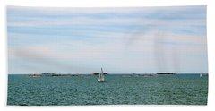 Sailboats In Summer Beach Towel