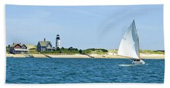 Sailing Around Barnstable Harbor Beach Sheet by Charles Harden
