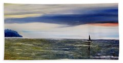 Beach Towel featuring the painting Sailing At Dusk by Marilyn  McNish