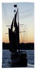 Sailing At Sunset Beach Towel