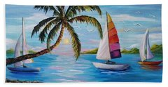 Sailing At Sunset Beach Towel