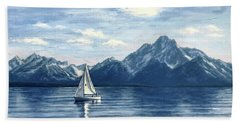 Sailing At The Grand Tetons Beach Sheet