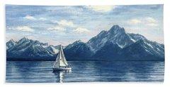 Sailing At The Grand Tetons Beach Sheet