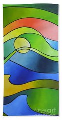 Sailing Away, Canvas Three Beach Towel by Sally Trace