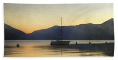 Sailing Boat In The Sunset Beach Towel