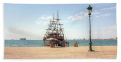 Sailing Boat With Veils In Horbour Beach Towel