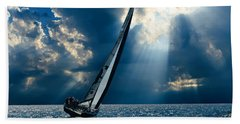 Sailing Boats At Sea , Photography , Beach Towel