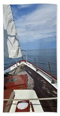 Sailing Bow View Beach Towel