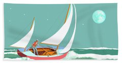 Moonlight Sail Beach Towel
