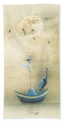 Sailing By The Moon Beach Towel by Chris Armytage