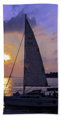 Sailing Home Sunset In Key West Beach Towel