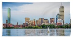 Sailing In Back Bay Beach Towel by Mike Ste Marie