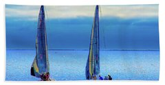 Sailing In The Blue Beach Towel by Joseph Hollingsworth