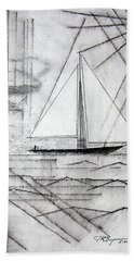Sailing In The City Harbor Beach Sheet by J R Seymour